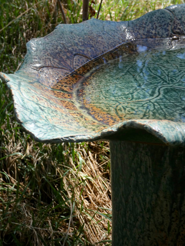 Textured Oval Slab Bird Bath in Hobbit